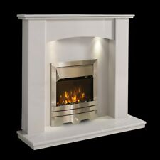 WHITE MARBLE CURVED SURROUND MODERN SILVER ELECTRIC FIRE FIREPLACE SUITE LIGHTS