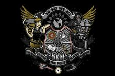 Battlestar Galactica Battle Crest Cylon Starbuck Satire Teefury Men Shirt NEW