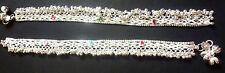 """Indian Silver Plated CZ Stone Design Chain Heavy Bridal 10"""" Payal Foot Anklet ."""