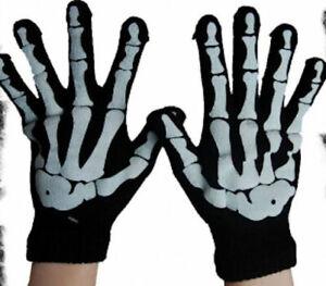 Poizen Industries Ladies Skeleton Gloves, Goth, Punk Emo - New