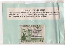 (V1-86) 1954 Colombia old stamp pack 1 stamp $2 Fort (CK)