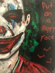 Joaquin Phoenix The Joker hand painted portrait fan art Smile Clowns DC Comics