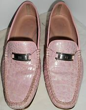 ESCADA Vintage Shoes Leather Croc Alligator Pink Silver  37 7 B HapaChico Haute