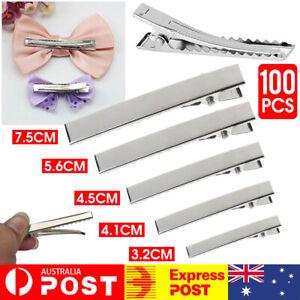 100PCS 5Size Silver Crocodile Alligator Bow Blank Hair Clip Lot DIY Craft Gifts