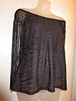 Sky Brand Clothing NWT Crop Lace Overlay Top Black Fringe Sleeve Off Shoulder