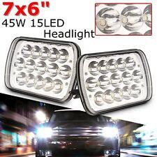 2Pcs 7''X6'' 15 LED Crystal Clear HID Headlight Light Hi/Lo Sealed Beam Headlamp