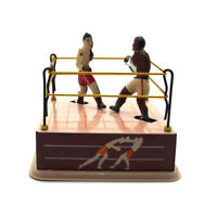 Clockwork Wind up Boxing Ring Boxers Model Table Ornament Kids Toy Gift Pretty
