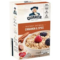Quaker Instant Oatmeal, Cinnamon & Spice Flavor, 10 Packet Boxes, 12 Boxes