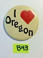Vintage VTG I LOVE OREGON RED HEART pin BACK Button Pinback B43