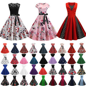 AU Womens Retro 50s 60s Style Vintage Rockabilly Prom Swing Evening Party Dress