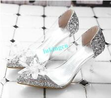 Chic Womens Crystal Wedding Bridal Shoes Pointed Toe Kitten Heels Court Pumps Sz