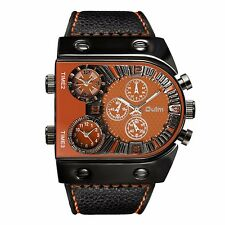 Oulm Leather Men Dual Time Stainless Steel Army Sport Analog Quartz Wrist Watch
