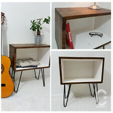 Rustic Vintage Industrial Loft Wooden Bedside Table Box Console Hairpin Legs