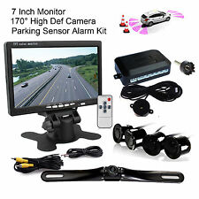 "Car 7"" TFT LCD Monitor Rearview Backup Camera 4 Parking Sensors Radar Alarm Kit"
