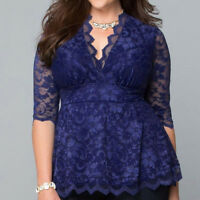 Plus Size Women Casual V-Neck Lace Panel Long Sleeve Tunic T Shirt Tops Blouse