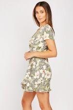 Short Tea Dress Side tie-up New Floral Wrap-Over Short Sleeved UK Size 4-6-8-10