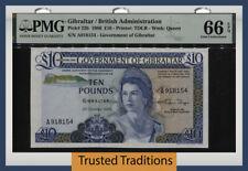TT PK 22b 1986 GIBRALTAR 10 POUNDS QUEEN ELIZABETH II PMG 66Q GEM UNCIRCULATED!