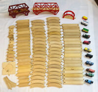 HUGE 108pc Lot Wooden Train Tracks & Bridges Thomas Imaginarium Classic Wood