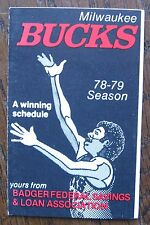 1978-79 Milwaukee Bucks Small Pocket Schedule