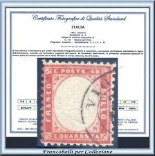1862 Italia Regno cent. 40 rosso carminio n. 3 Usato Certificato