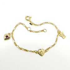 echt Gold 333 Kinder Armband Charm Armkette Rubin Herz betender Engel 15 - 13 Cm