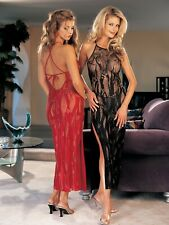 Shirley of Hollywood Women Size 14 Sheer Red Silver Long Nightgown Designer