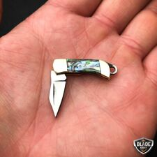 WORLD'S SMALLEST WORKING Folding Mini Real Blade POCKET KNIFE Key Chain Abalone