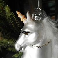 Einhorn Weiß Federn Unicorn Glitzer Christbaumkugeln Glimmer Weihnacht Pferd