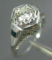 ANTIQUE .47CT DIAMOND & SAPPHIRE 14KT WHITE GOLD FILIGREE ENGAGEMENT RING #26681