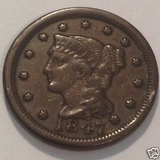 1847  BRAIDED HAIR LARGE CENT 168 YR OLD COIN  #3091