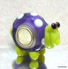 'SPOT' - Purple/White Spots/Lime Animal Murano Glass European Charm-Single Core