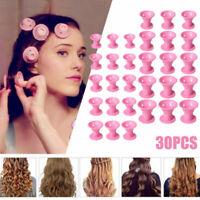 30PCS DIY Silicone Hair Curlers Set Kit Magic Soft Mushroom Rollers Care No Heat