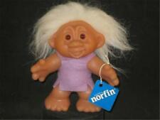 """1968? 4.5"""" NORFIN (DK) TROLL PLAYMATE WHITE HAIR LILAC TUNIC WIDE STANCEv969"""