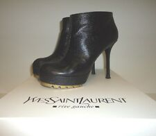 HOT YVES SAINT LAURENT BLACK GRAINY LEATHER GOLD SOLE  SEXY TROOPER BOOTIES Sz39