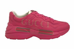 GUCCI Pink Rhyton Gucci logo leather sneaker