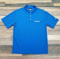 Nike Golf Men's Medium Snap-On Tools Polo Shirt Blue DriFit Short Sleeve