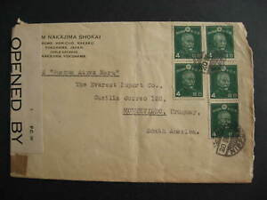 Japan WWII censored cover to Uruguay, has Bed Sheet 36101 label on back too!