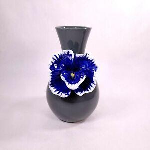 Anthropologie Floral Vase Blue Flower Grey Gray Vase Applied Orchid Pansy Flower