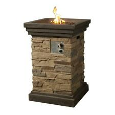 Peaktop Fire Pit 20 Inch Propane Weather Resistant Square Slate Steel Outdoor