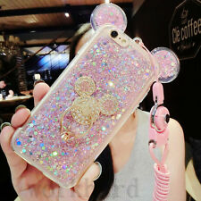 3D Luxury Cute Bling Giltter Diamond Mouse Ring kickstand Strap Phone Case Cover