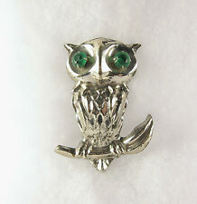 Vintage Wise Owl Pin Brooch Silver Tone Green Rhinestone Lapel Hat 1950s 1960s