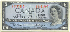 Bank of Canada 1954 $5 Five Dollars Devil's Face Portrait Beattie- Coyne VF