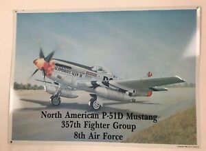 """Vintage 1990 North American Mustang 357th Fighter Group Metal Sign 14""""x10"""""""