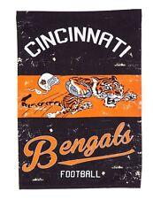 Cincinnati Bengals EG VINTAGE Retro 2-sided GARDEN Flag Linen Banner Football
