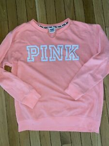 Victoria's Secret Pink Coral Pull Over Fleece Sweatshirt Top Small