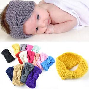 Baby Girls Crochet Bow Headband Solid Color Hairband Winter Warm Head Accessory