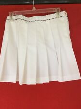 Liz Claiborne Tennis  Skirt Sz 8 White Pleated A-line 6 Gold Buttons On The Side