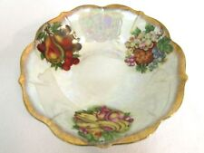 Opalescent Iridescent Bowl Porcelain Fruit grapes bananas pears w Gold rim 8in