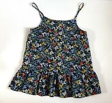 Girl's Sleeveless Strappy Sun Top- Black/Multi Floral Design- Age 9 Years- NEW