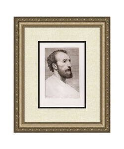 "Alphonse LEGROS Original 1800s Etching ""Jules Dalou Portrait"" Signed Framed COA"